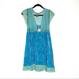 Free people mixed material velvet babydoll dress